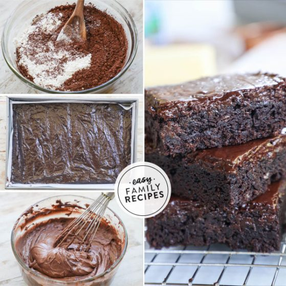 Step by step for making fudge brownies from scratch: 1. Mix up brownie batter. 2. Spread in pan and bake. 3. Mix frosting. 4. Spread frosting on brownies, cut and serve.