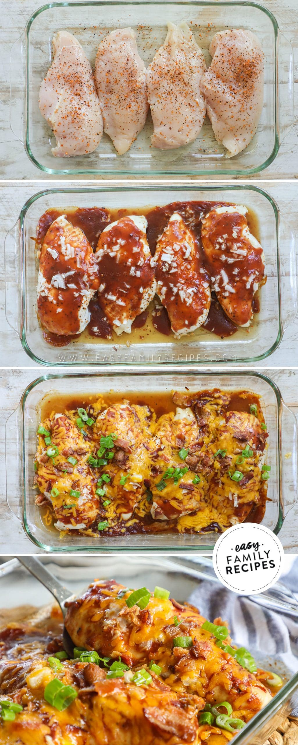 Process photos for how to make Mesquite chicken bake recipe - 1. Season chicken breast with mesquite seasoning and lay in a casserole dish. 2. Smother with mesquite BBQ sauce and red onion. 3. Top with cheese and crumbled bacon. 4. Garnish with green onion.