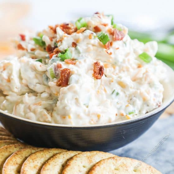 Creamy Million Dollar Dip served with crackers