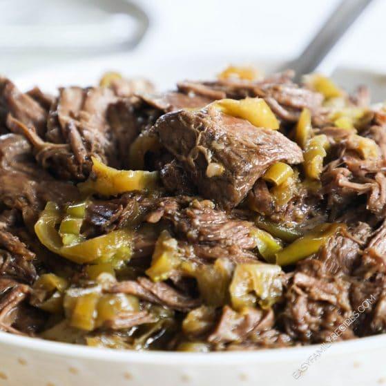 Shredded Mississippi Pot Roast beef in a serving bowl