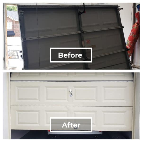 black garage door replaced with white