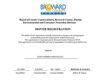 MoverRegistrationLicense