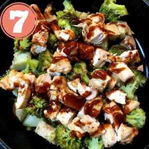 baked potato, broccoli,chicken in skillet