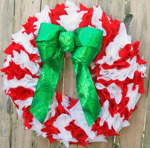 Felt Candy Cane Wreath