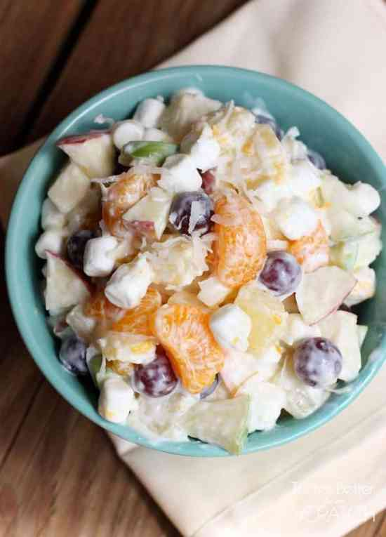 This creamy fruit salad recipe, using Greek yogurt, is sweet and creamy without the added calories!