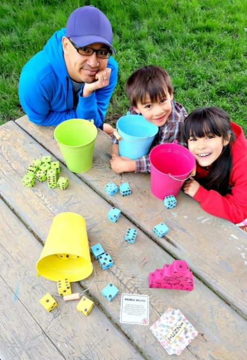 What's a crafty girl to do when she's afraid that she's going to lose small dice from her favorite game while playing outside? Make a bigger wooden set for outdoor play!