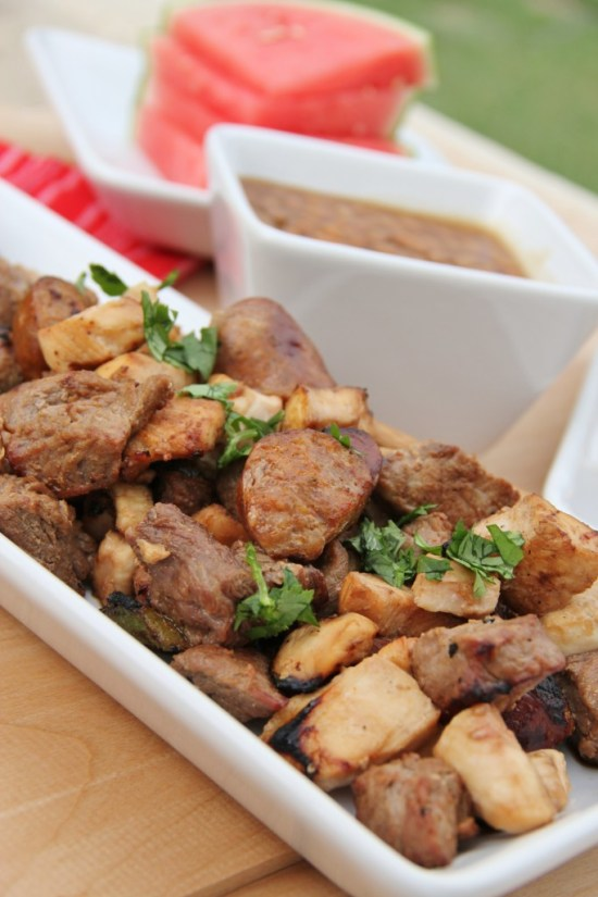 The best part about this recipe is that it is totally customizable (hmmm….is that even a word?). Use whatever veggies and meat that you want. Make them vegetarian, make them all meat, use leftovers, or clean out the freezer….the recipe is really for the marinate that is perfect for summer kabobs!