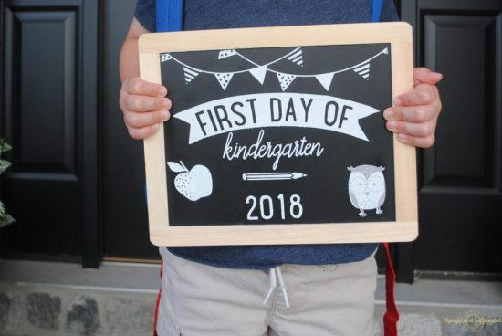 Make your own chalkboard sign that is double sided for first and last day.