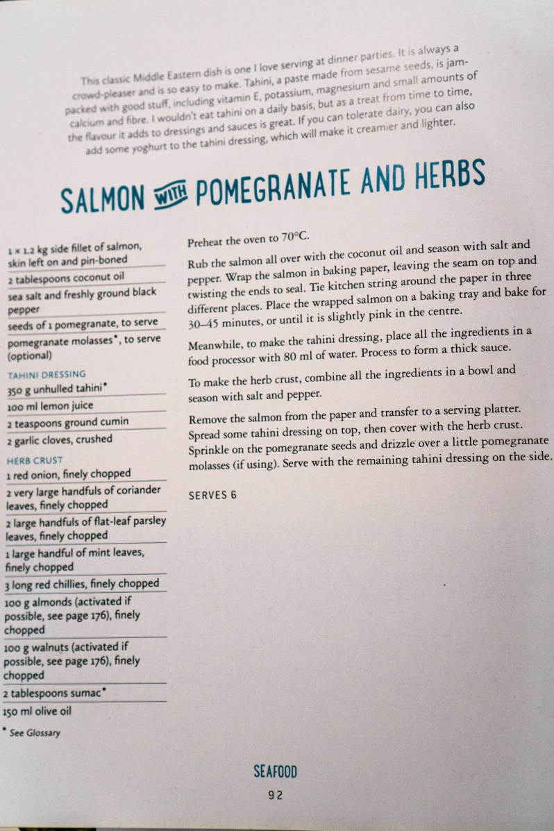 Salmon with Pomegranate and Herbs recipe