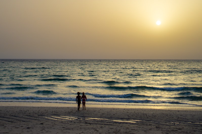 Wild beach camping in Oman - sunset