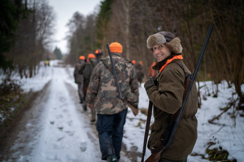 into the woods for hunting