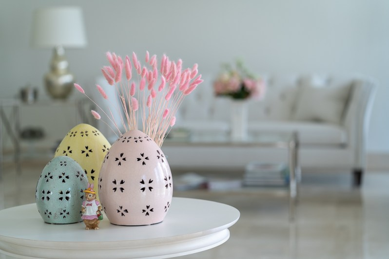 Spring home decor quarantine style with Pottery Barn egg decorations and bunny tail dried grass