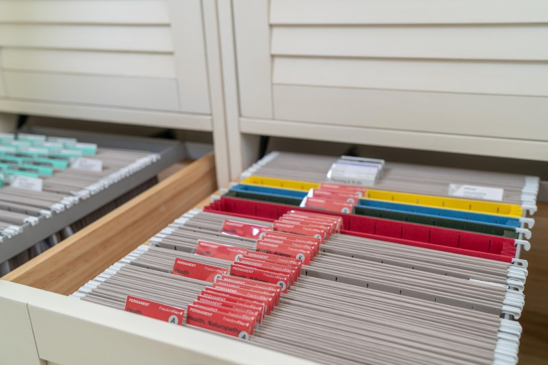 Home office paper organization