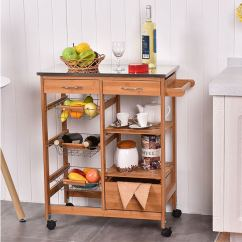 Kitchen Carts Home Depot Cabinets Bamboo Easy Concepts Giantex Rolling Cart