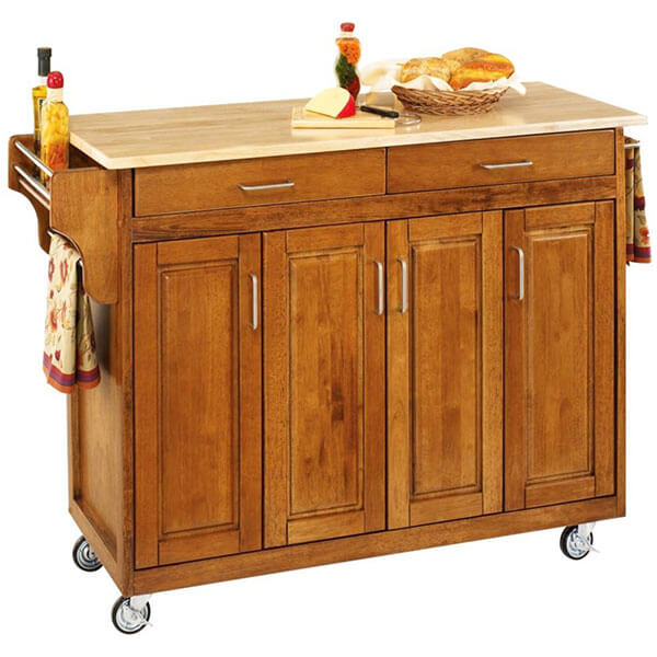 oak kitchen cart hood carts easy home concepts styles with wood top cottage finish