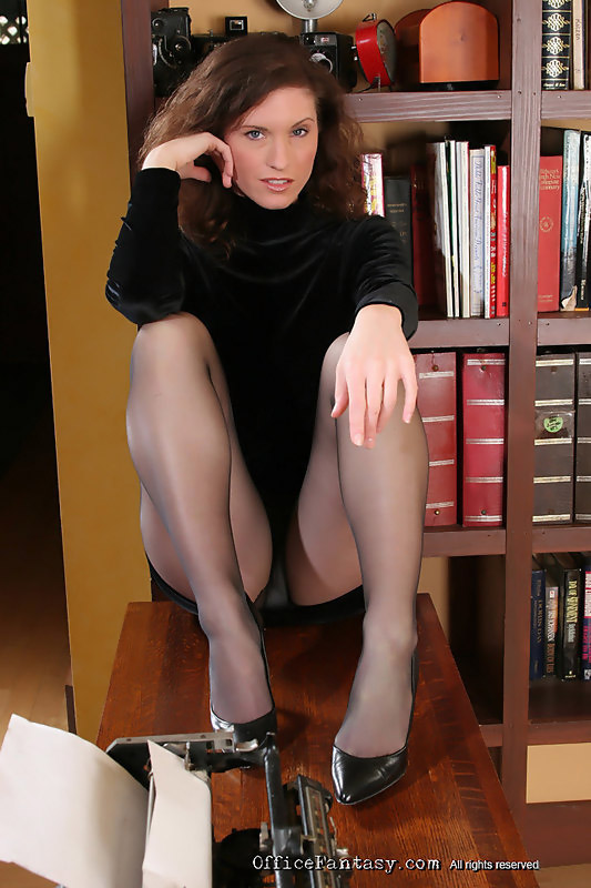 Curly Katie is sexy officelady in black outerwear high