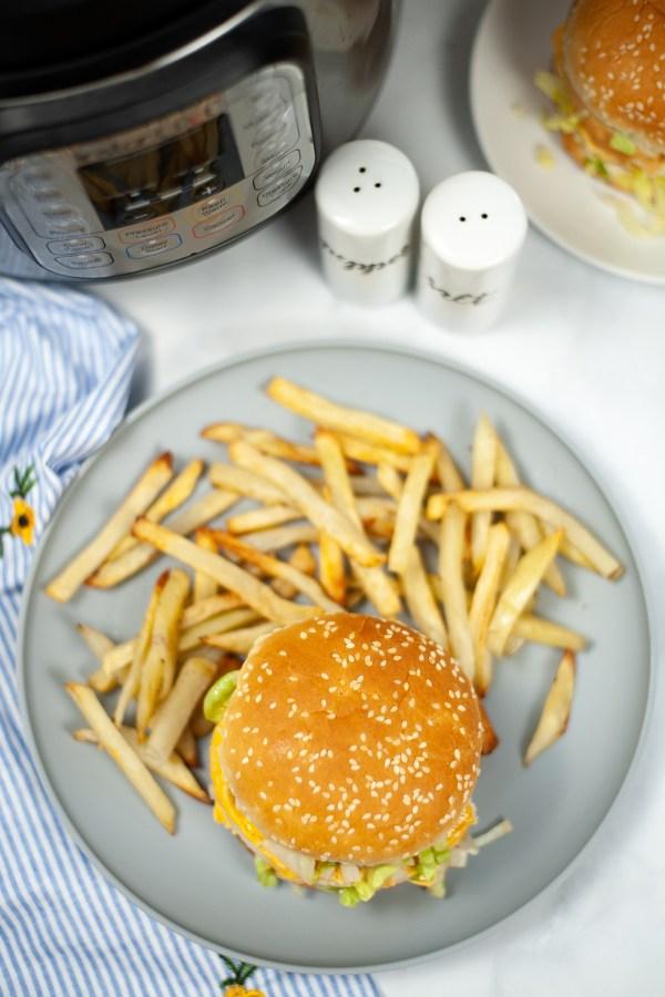 Instant Pot Big Mac burgers and fries