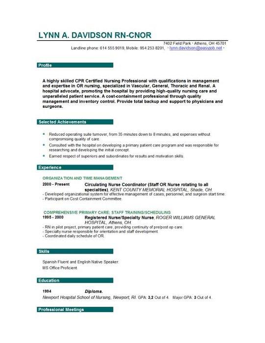 experienced nurse resume examples - Nursing Resumes Examples