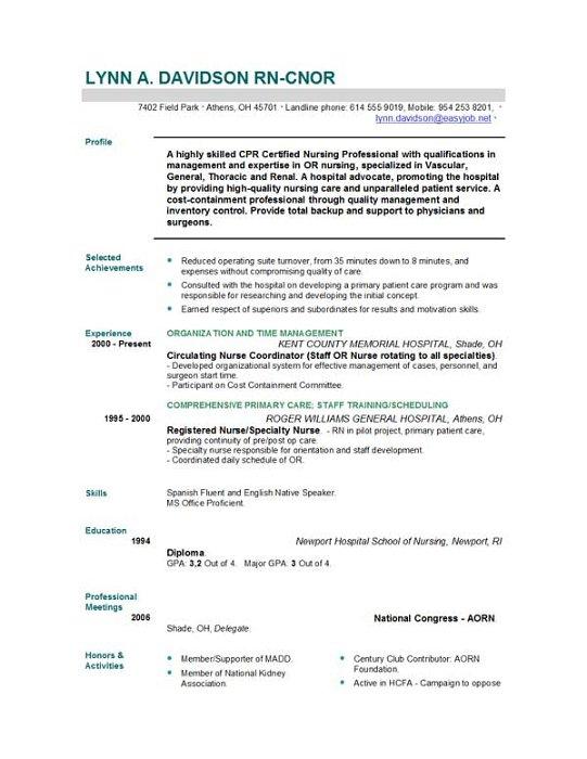sample resume registered nurse