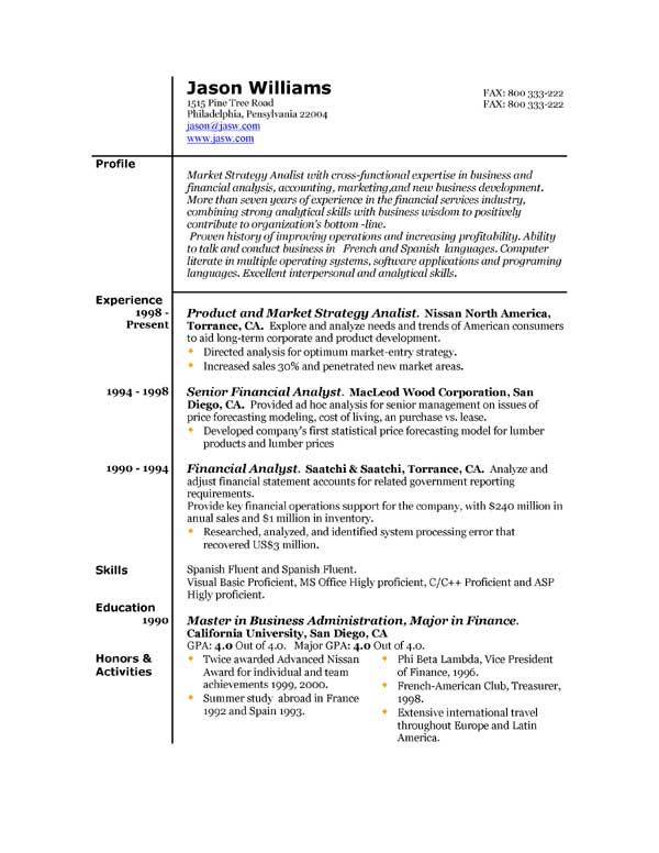 Example Resume Layout  Examples Of Resumes