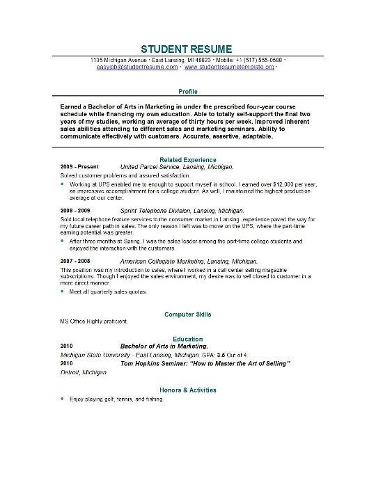 sample resume recent college grad