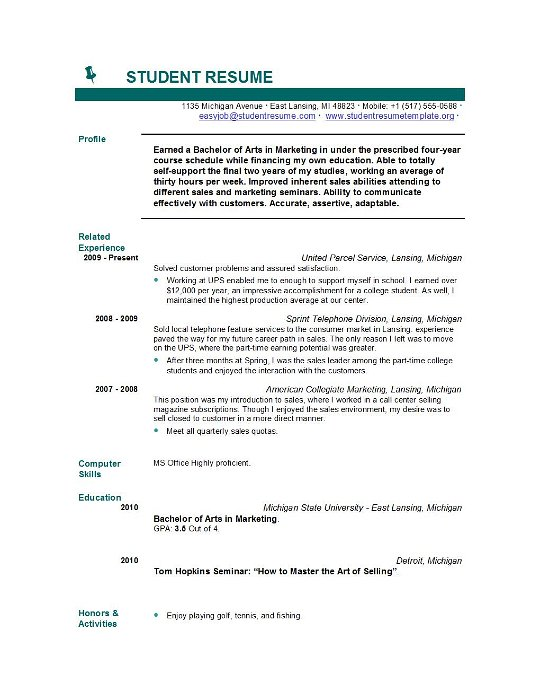 resume for first job student