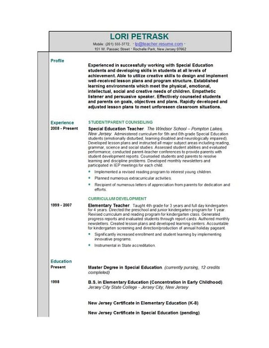 How to write a teacher resume examples