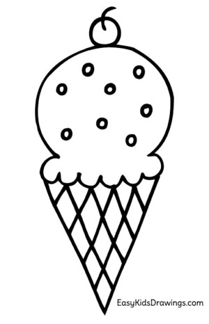 ice cream easy drawing drawings cone draw coloring icecream vector paintingvalley clipartmag