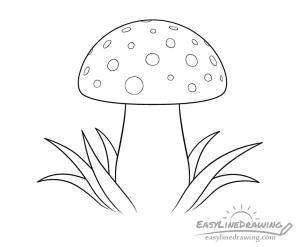 mushroom drawing line step draw cap