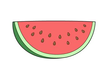 watermelon drawing slice draw step