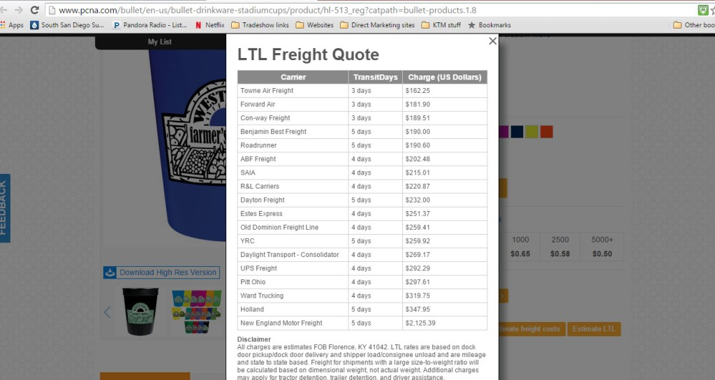 LTL freight shopify example