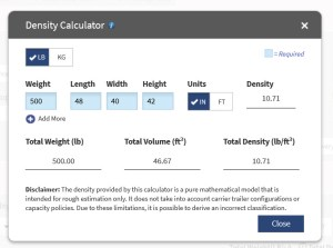 online density calculator for freight example