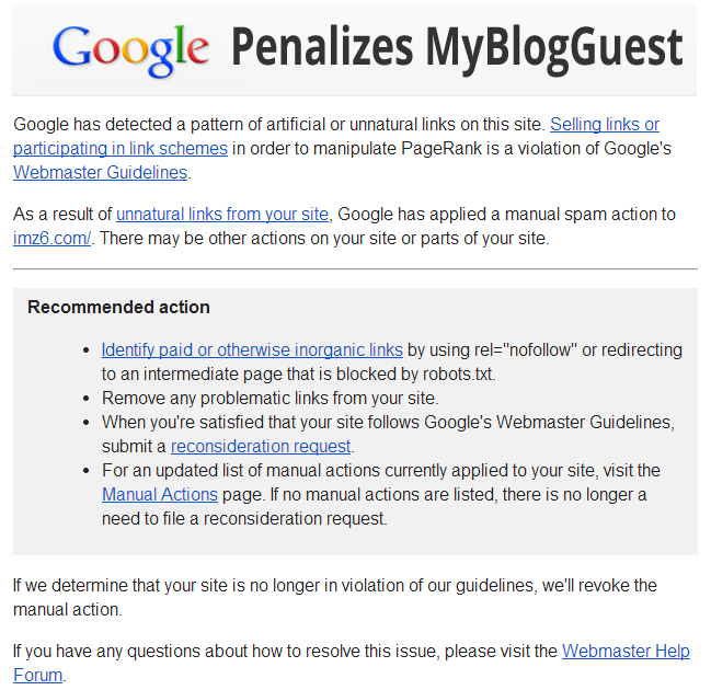 MyBlogGuest And A Whole Network Of Sites Got Manually Penalized