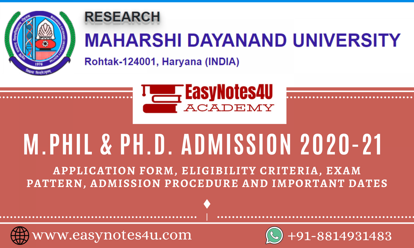 M.Phil & Ph.D. Admission Notice MDU Rohtak 2020-21 – Eligibility Criteria, Application Form & Procedure Important Dates
