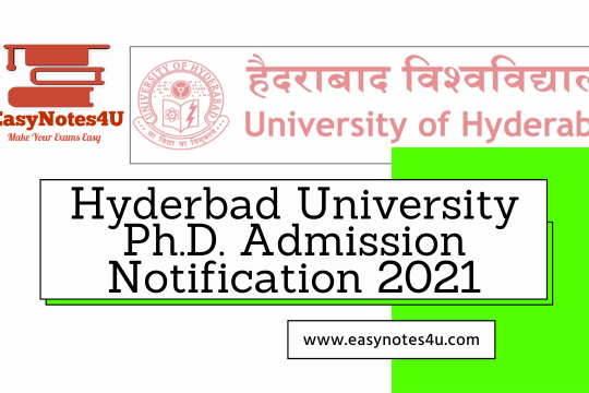 Ph.D. Admission Notification 2021: Application Form, Process, Eligibility & How to Apply - University of Hyderabad