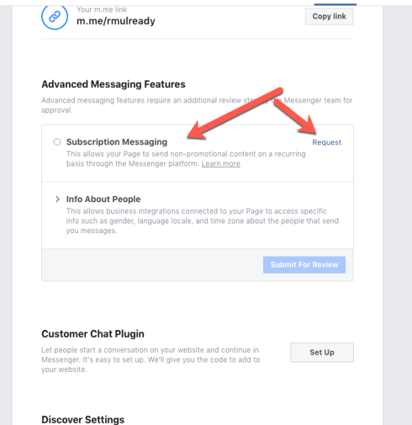 Request Subscription Messaging on Facebook Step 2