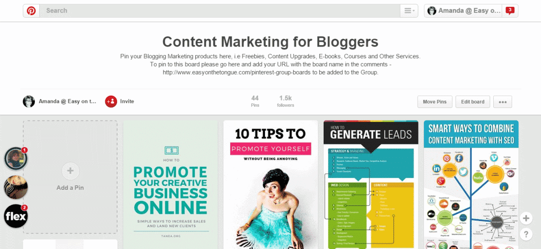 Content Marketing Group Board screen shot 2 Pinterest Group Boards