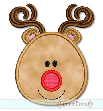 simple reindeer face The Most Special Free and Paid Rudolph Christmas Embroidery Designs