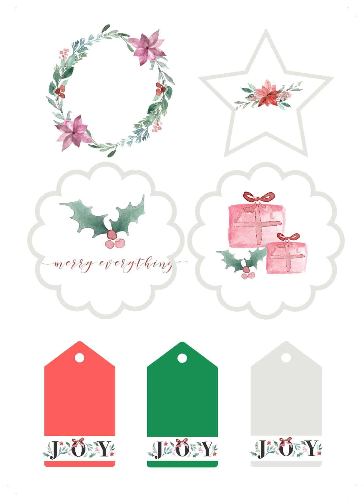 Free water colour Christmas gift tags 1 pdf Super Special  Christmas Tags Printables, free for you