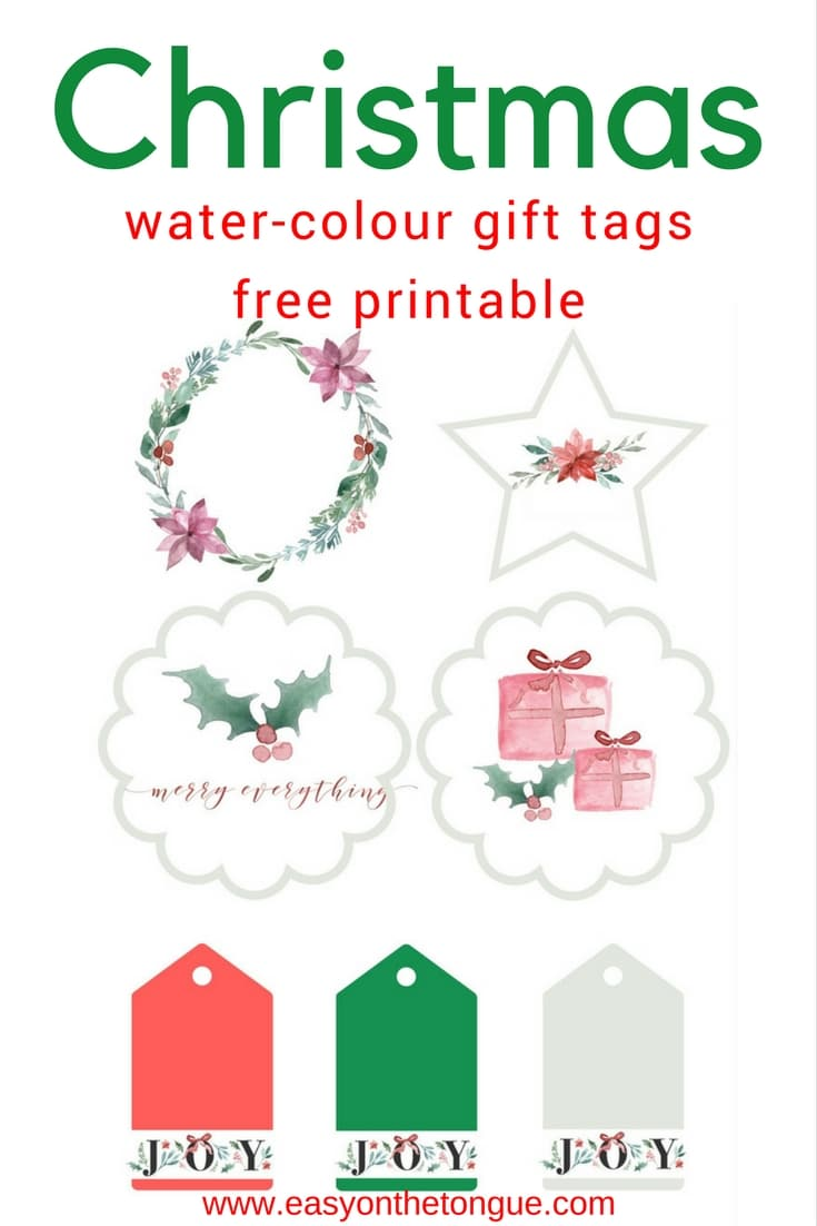 Free water colour Christmas gift tags for you get the download at www.easyonthetongue.com  Super Special  Christmas Tags Printables, free for you