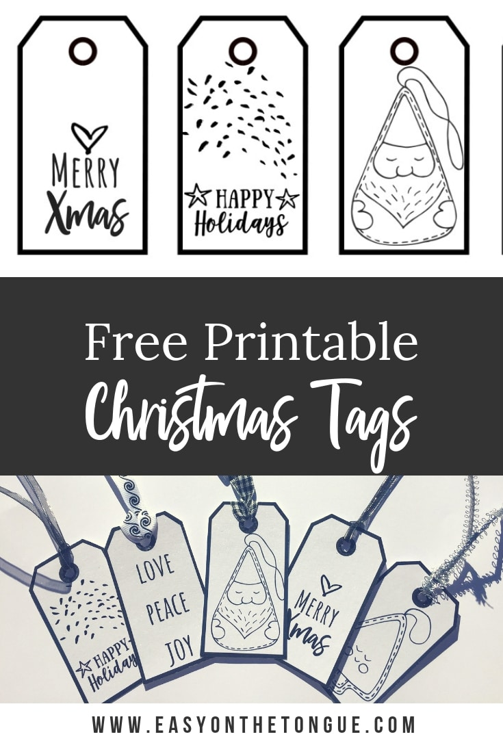photo relating to Printable Christmas Tags Black and White identified as Absolutely free Black White Xmas Present Tags a down load for yourself