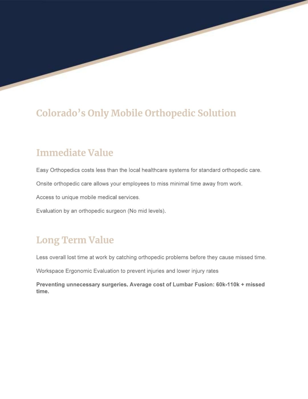 Colorado Springs Easy Orthopedics Workplace Healthcare Doc 1