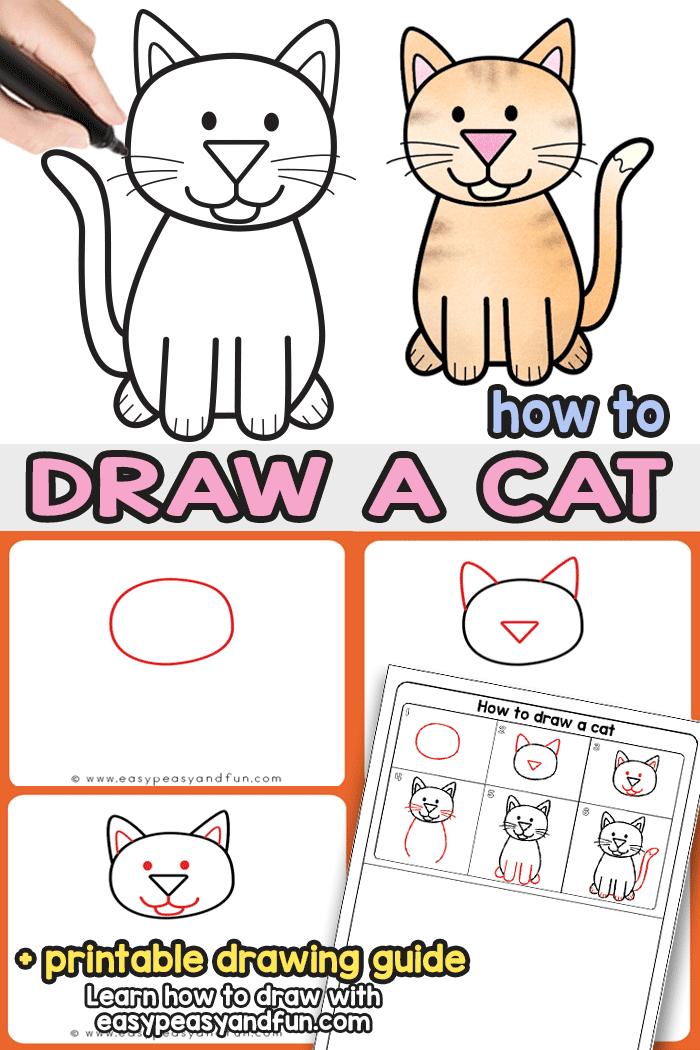 Basic Cat Drawing : basic, drawing, Drawing, Instructions, (Cute, Cartoon, Peasy