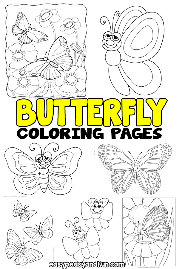 Easy Butterfly Coloring Pages : butterfly, coloring, pages, Butterfly, Coloring, Pages, Printable, Realistic, Butterflies, Peasy