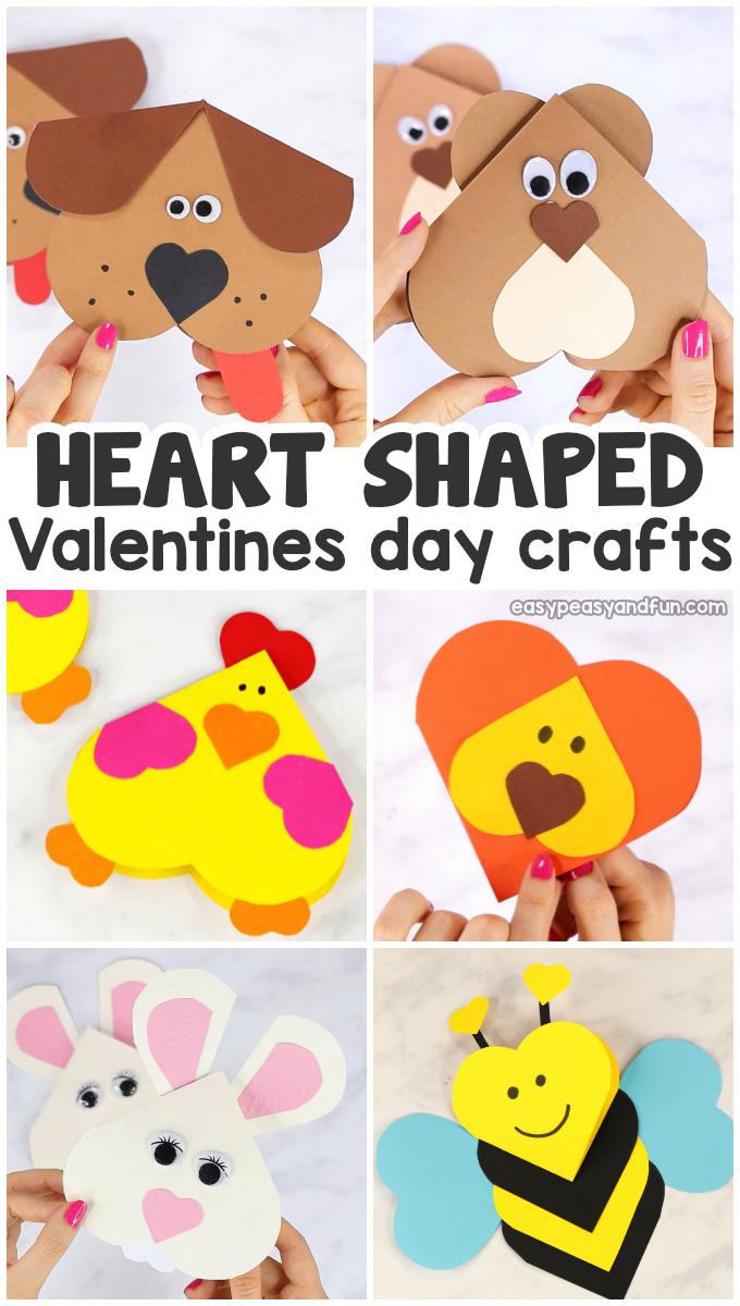 Heart Shaped Crafts : heart, shaped, crafts, Heart, Animals, Crafts, Valentines, Shaped, Peasy