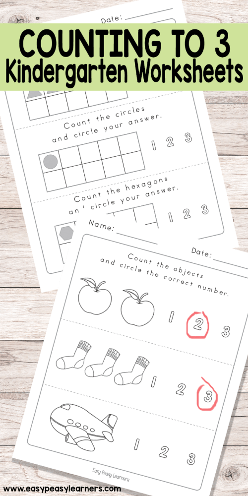 small resolution of Counting to 3 Worksheets - Kindergarten Worksheets - Easy Peasy Learners