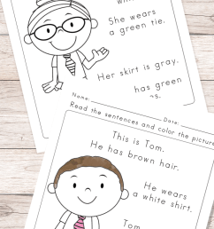 Read and Color Reading Comprehension Worksheets for Grade 1 and Kindergarten  - Easy Peasy Learners [ 1400 x 700 Pixel ]