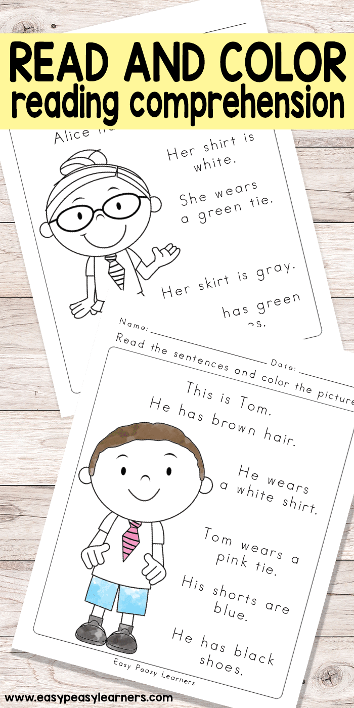 medium resolution of Read and Color Reading Comprehension Worksheets for Grade 1 and  Kindergarten - Easy Peasy Learners