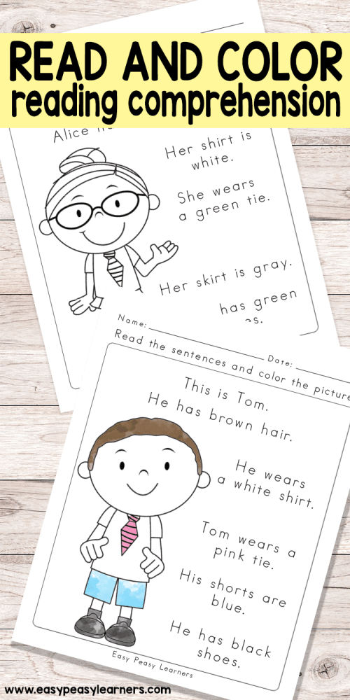 small resolution of Read and Color Reading Comprehension Worksheets for Grade 1 and Kindergarten  - Easy Peasy Learners