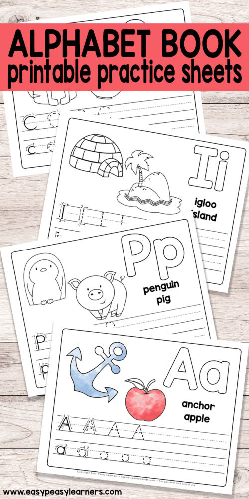 small resolution of Free Printable Alphabet Book - Alphabet Worksheets for Pre-K and K - Easy  Peasy Learners